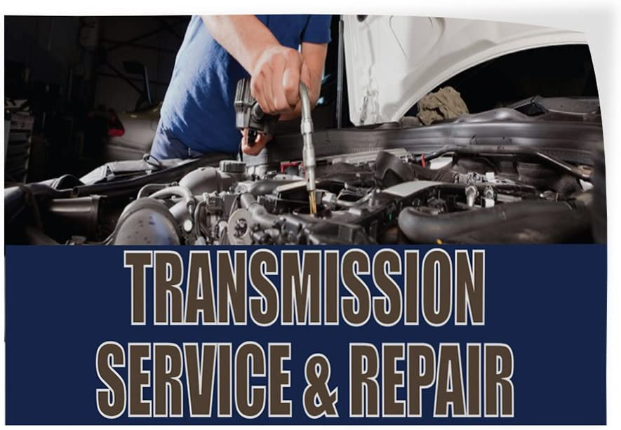 Decal Sticker Multiple Sizes Transmission Service /& Repair #1 Automotive Transmission Service Repair Outdoor Store Sign Blue 54inx36in Set of 2