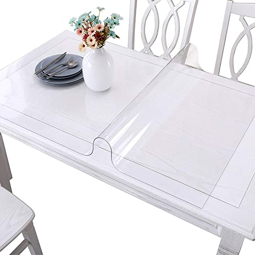 Amazon Com Grneric Custom Pvc Table Cover Pad Desk Pads Mats Table Cover Protector Rectangle Table Cloth Crystal Transparent Clear Glass With 1 5mm Thickness For Kitchen Home Dining Room 33 5x55inches Home Kitchen
