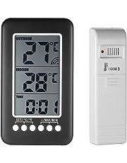 KKmoon Horloge Thermomètre 2 en 1, Horloge de Température Numérique Sans Fil, Intérieur/Extérieur LCD ℃ / ℉ avec Transmetteur (Batterie non Incluse)