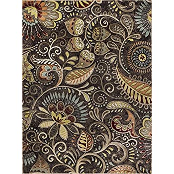 Amazon Com Giselle Transitional Floral Brown Rectangle