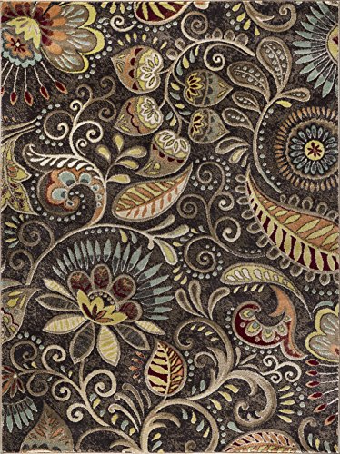 - Giselle Transitional Floral Brown Rectangle Area Rug, 5' x 7'