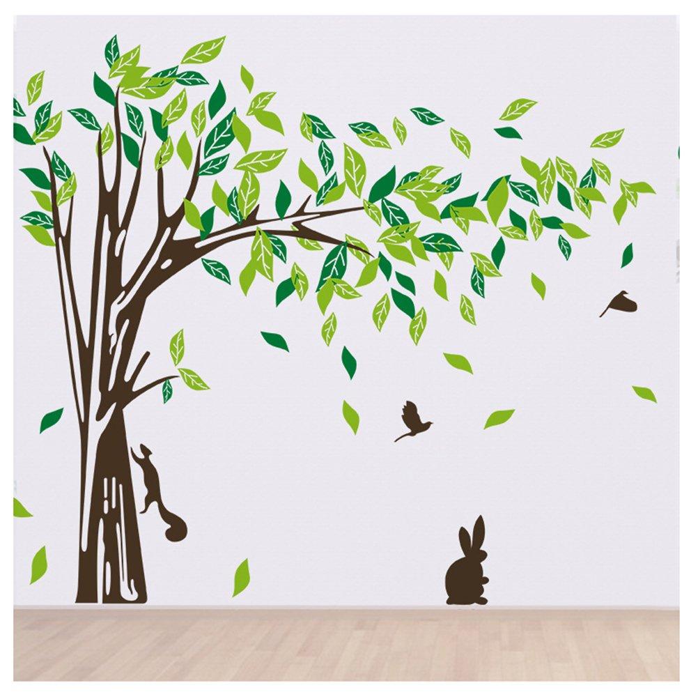 Woodland Giant Tree Wall Decals with Rabbit Bird Art Sticker Decals Kids' Room Nursery Decor Home