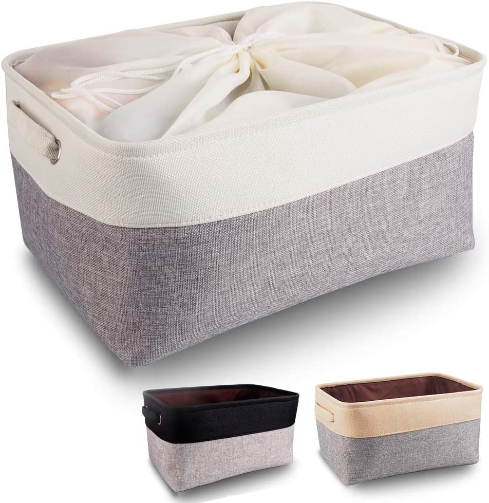 Mangata Fabric Storage Boxes, Large Storage Basket with Handles for Shelves, Clothes, Toys (Foldable, Grey White)