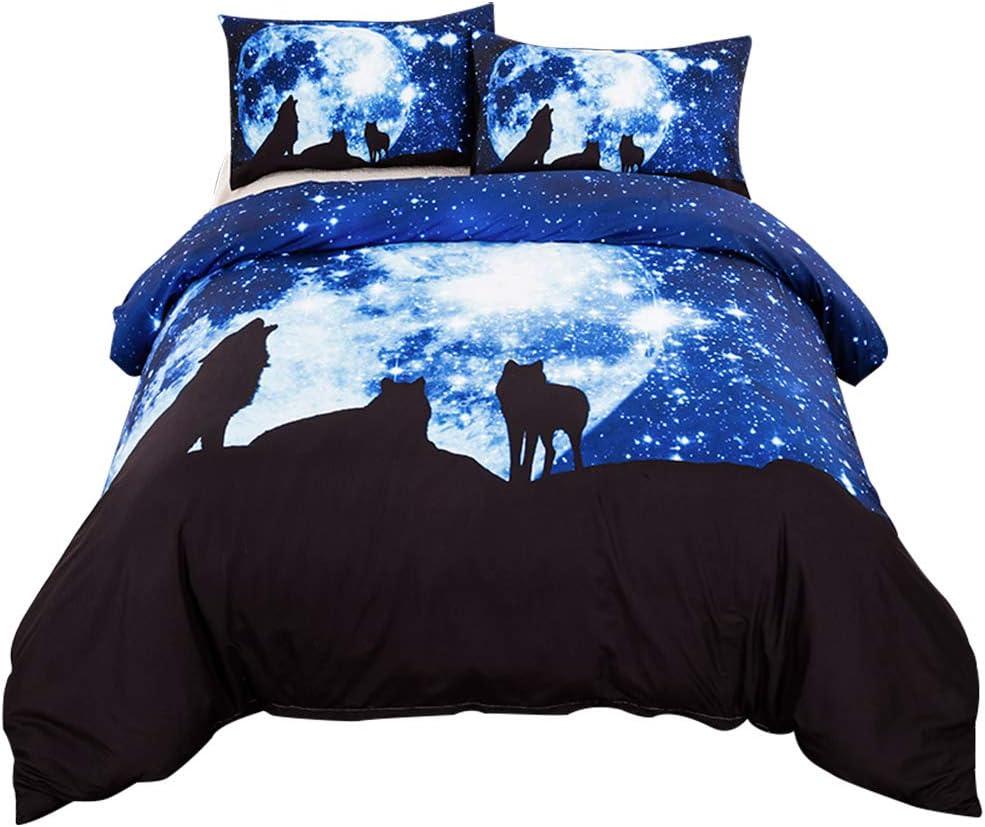 Simlug Bedding Duvet Cover 3Pcs Set 3D Wolf Pattern Ultra Soft Polyester Comforter Covers Pillowcase(Twin)