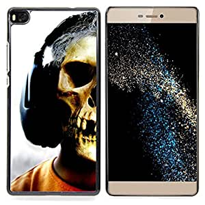 Skull Headphones Music Art Skeleton Man Caja protectora de pl??stico duro Dise?¡Àado King Case For HUAWEI P8