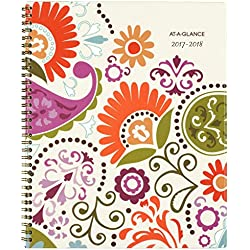 """AT-A-GLANCE Academic Weekly / Monthly Planner, July 2017 - June 2018, 8-1/2"""" x 11"""", Garden Party (150-905A)"""