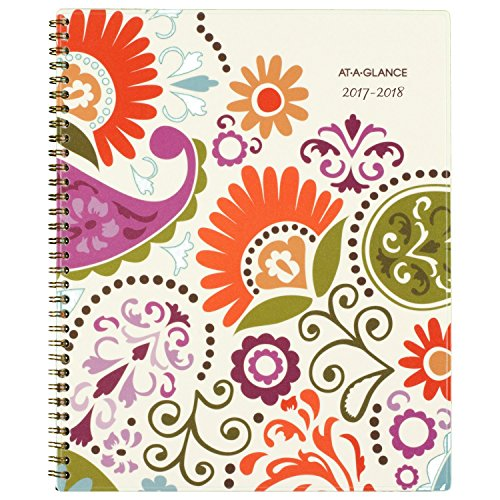 "AT-A-GLANCE Academic Weekly / Monthly Planner, July 2017 - June 2018, 8-1/2"" x 11"", Garden Party (150-905A)"