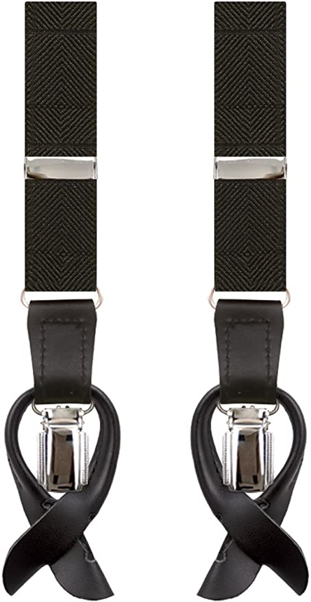 Men's Vintage Style Suspenders Dobell Mens Black Braces 2-in-1 Y-Shape Back Slim - 25mm £9.99 AT vintagedancer.com