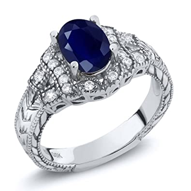 407791a7ca Gem Stone King 925 Sterling Silver Blue Sapphire Women's Ring 2.02 Ct Oval,  Gemstone Birthstone