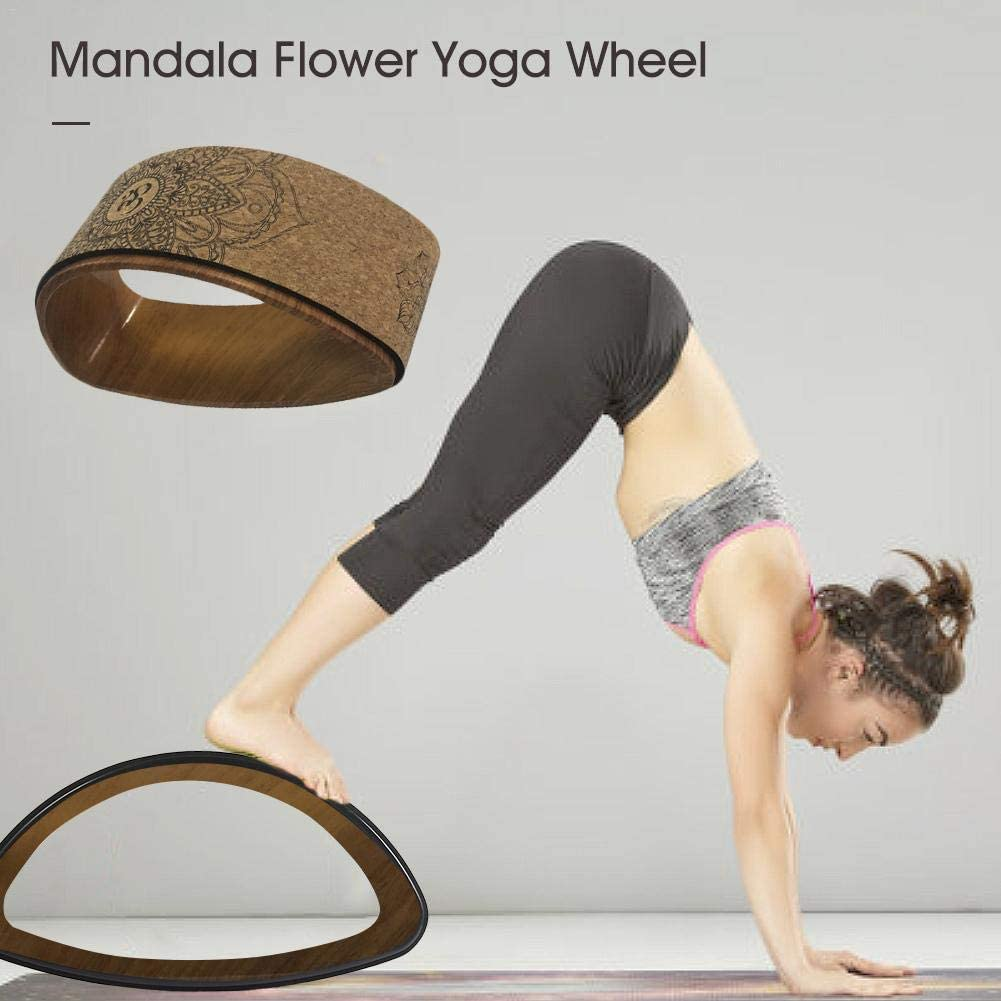 Back Massager winnerruby Yoga Wheel Cork Mobility Massage,Exercise deep Tissue Comfortable Mandala Flower Yoga Wheel Fitness Wheel for Back Pain