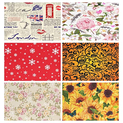 YATELI Placemats Newspaper UK London Coffee Red Lip 12x18 inch Heat Resistant Set of 6 Non Slip for Dinning Kitchen (Uk Rattan Placemats)