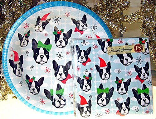 Punch Studio Boston Terrier Dog Cocktail Party Paper Plates and Napkins Set (16 plates and 40 - Terrier Plates Boston