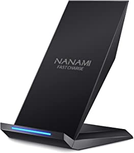 NANAMI Fast Wireless Charger,Qi Certified Wireless Charging Stand 7.5W Compatible 11/11 Pro/11 Pro Max/XS Max/XS/XR/X/8/8 Plus,10W for Samsung Galaxy S10 S9 S8 Note10/9/8,5W for All Qi-Enabled Phones