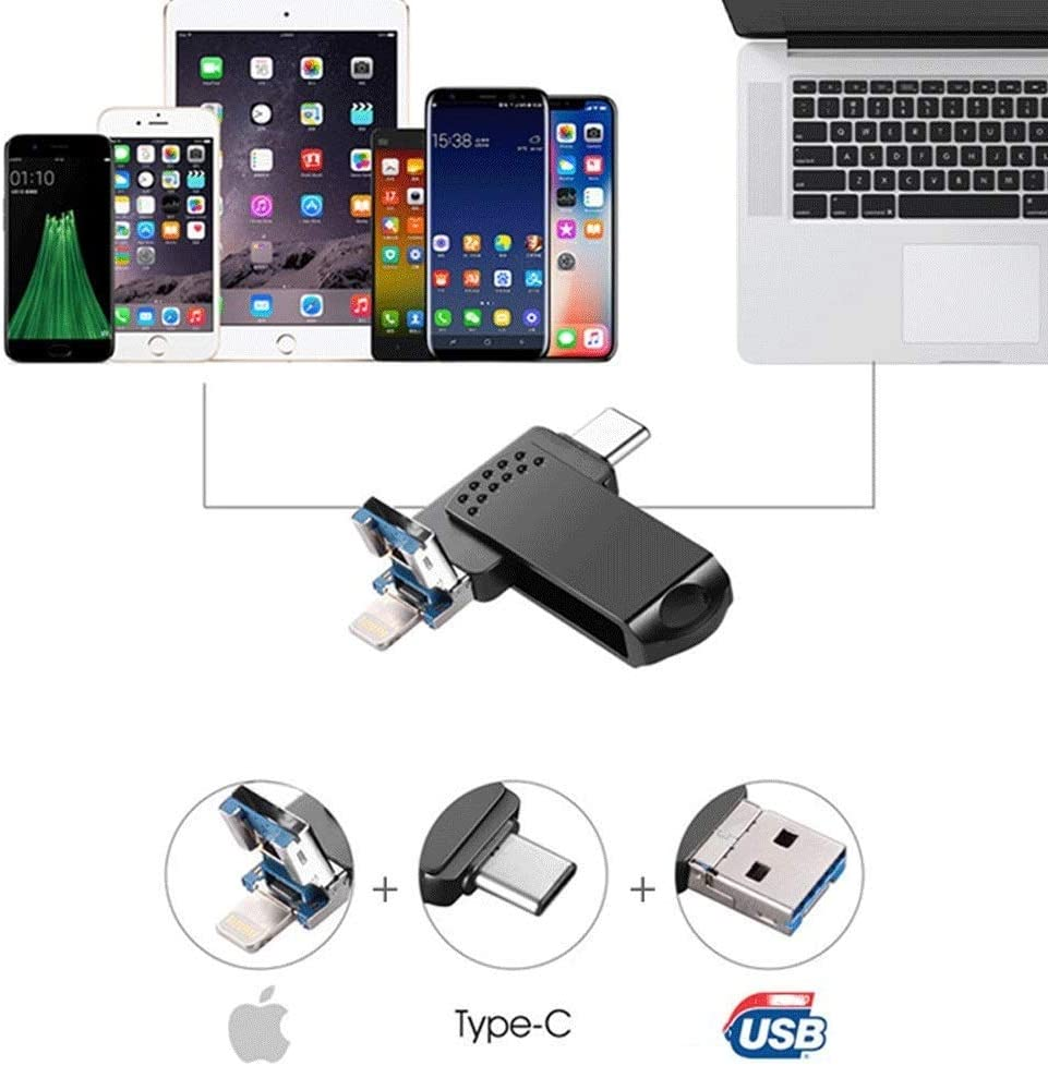 Memory Stick high Speed Thumb Drive USB Memory Stick Waterproof XHMCDZ 256GB USB 3.0 High Speed Flash Drive Three-in-one Flash Drive Shockproof 360 Rotary Drive Compact