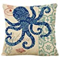 Famibay Decorative Pillow Cover Ocean Park Theme Square Cotton Linen Throw Pillow Case Cushion Cover 18 x 18