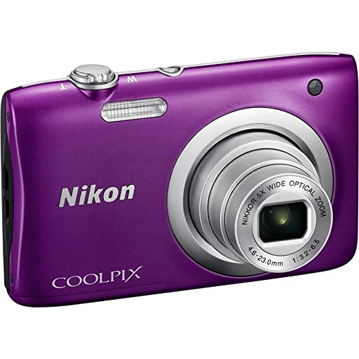 Nikon Coolpix A100 20MP Digital Camera (Purple) International Model No Warranty Point & Shoot Digital Cameras at amazon