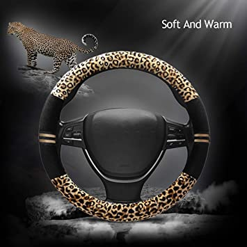 Mayco Bell 15 Inch Leather Car Auto Steering Wheel Cover Anti Slip Flowers for Women Girl Gray