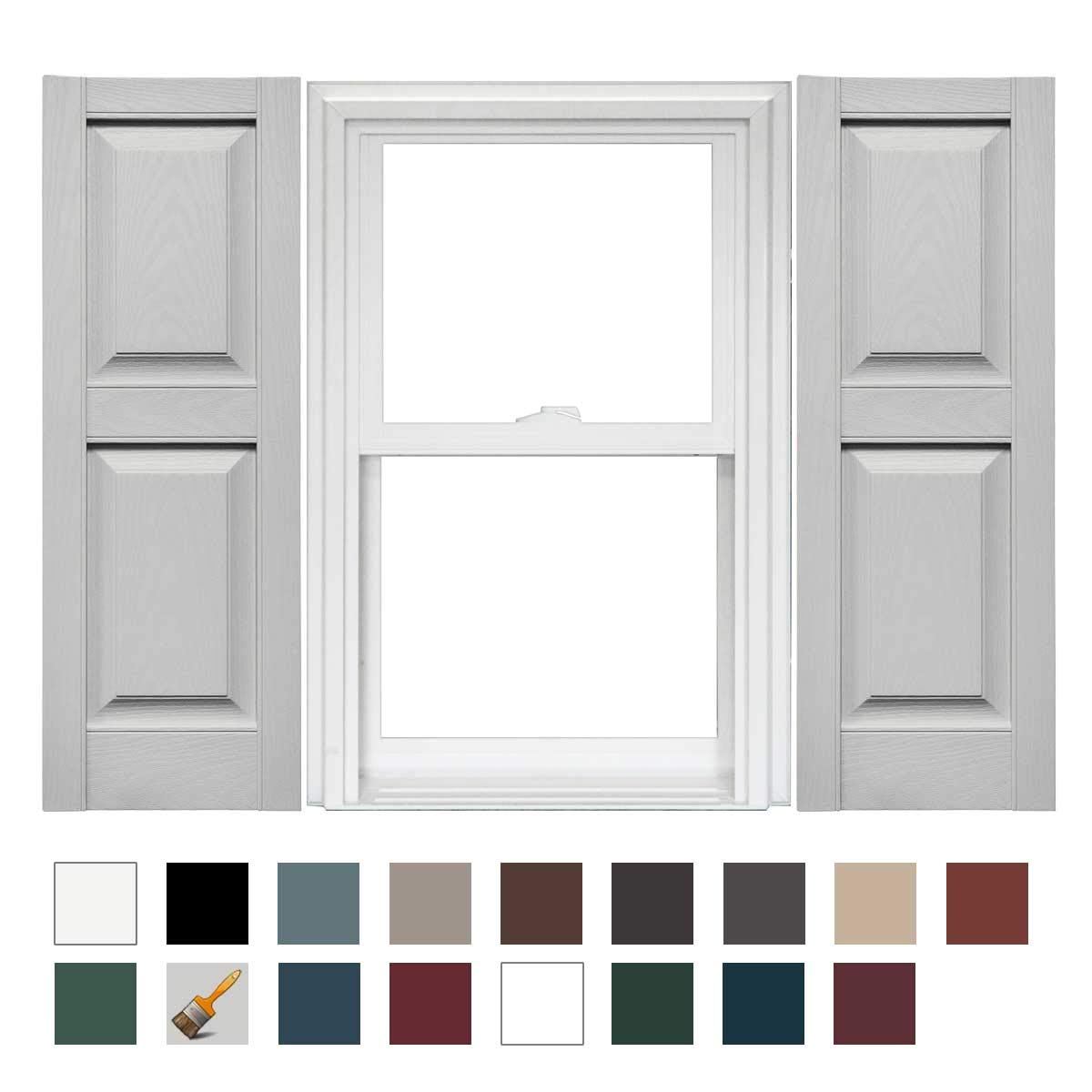 Mid America Williamsburg Raised Panel Vinyl Standard Shutter - 1 Pair 14.75 x 63 030 Paintable