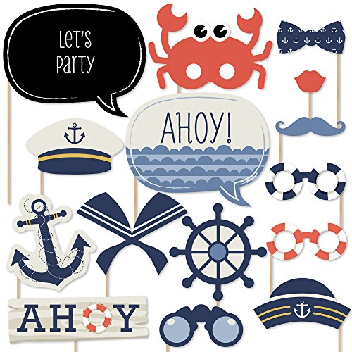 Ahoy - Nautical - Photo Booth Props Kit - 20 Count by Big Dot of Happiness