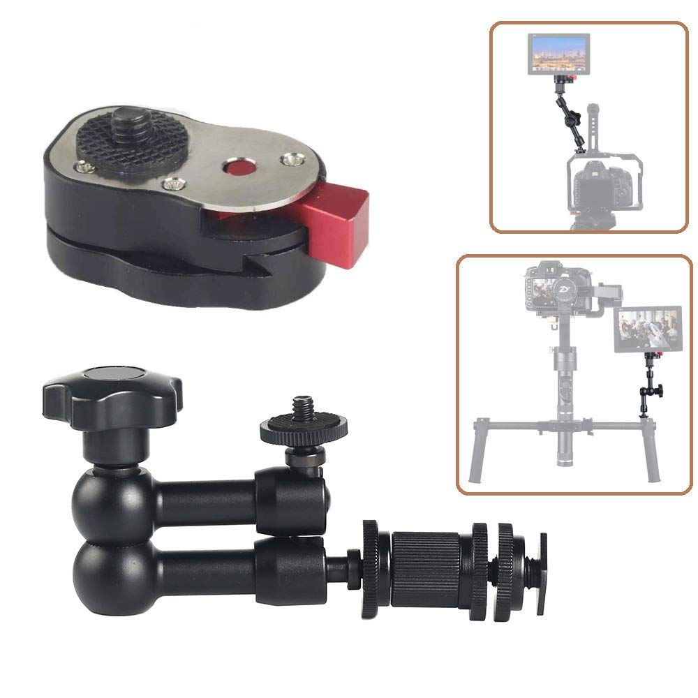ADAI 7 inches Magic Arm Articulating Magic arm with Mini Quick Release Plate Compatible with DSLR Camera Rig, LED Lights, Flash Light, LCD Monitor