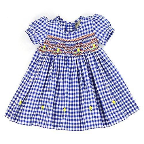 sissymini - Infant and Toddlers Hand Smocked Dress   Blakely Bishop's Plaid in Blue 18M