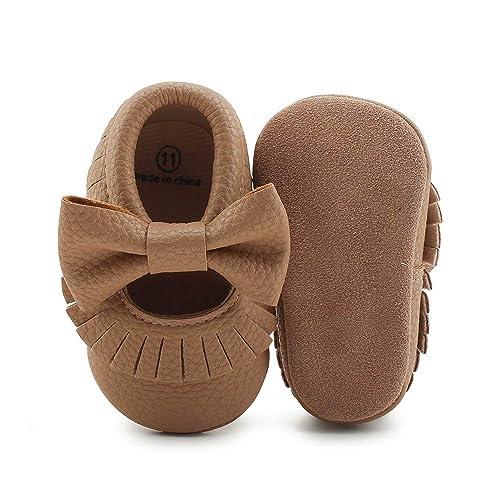 OOSAKU Bebes Niños Suela Blanda de Cuero de PU Mocasines Antideslizantes para niños pequeños Prewalker Zapatos de Cuna con Borla Bowknot: Amazon.es: Zapatos ...