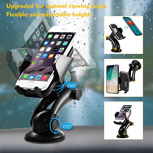Car Phone Mount, TeeBeg Universal Washable Strong Sticky Gel Pad Car Phone Holder for iPhone X/8/7/7Plus/6s/6Plus/5S,Galaxy S5/S6/S7/S8,Google,LG,Huawei and More (Black) (black01) (black01)