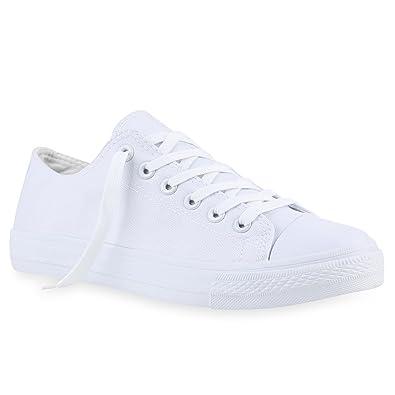 Stiefelparadies Herren Sneakers Stoffschuhe Sportschuhe Schnürer Freizeit Schuhe 139977 Weiss Weiss 42 Flandell