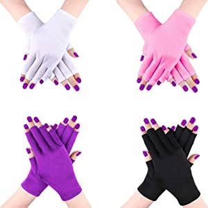 4 PCS UV Shield Glove Manicures Anti Block UV Ray Fingerless Glove Protect Hands from UV Light or Lamp