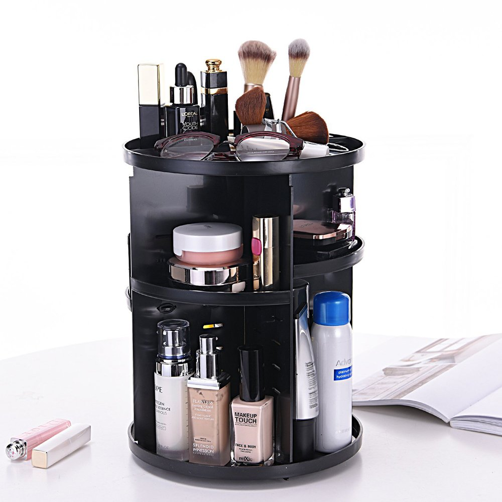 Vegan Leather Round box Large Capacity Storage bags for Pen Pencils Brushes Countertop Display Container Makeup Brush Holder Etmury Professional Travel Case B07CMW7RLS PU Black