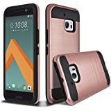 HTC 10 Case, HTC ONE 10 Case, HTC ONE M10, kaesar Slim Fit Brushed Metal Texture Hybrid Dual Layer Slim Protector Case Cover for HTC 10 - Rose Gold