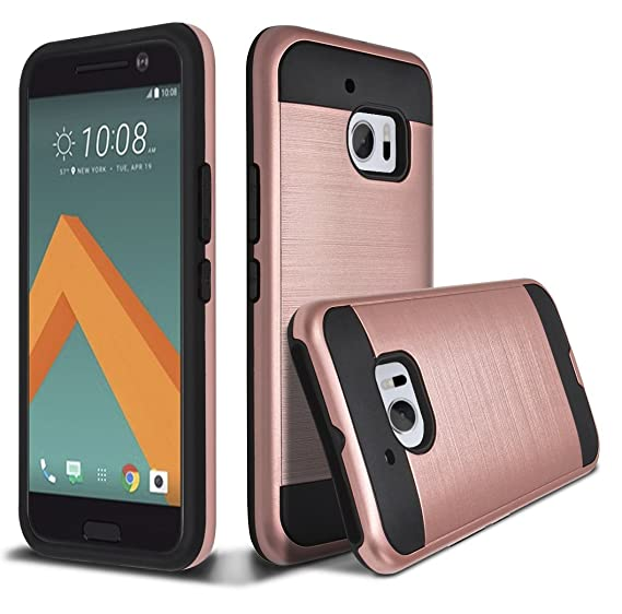 meet 4e786 54634 kaesar HTC 10 Case, HTC ONE 10 Case, HTC ONE M10, Slim Fit Brushed Metal  Texture Hybrid Dual Layer Slim Protector Case Cover for HTC 10 - Rose Gold