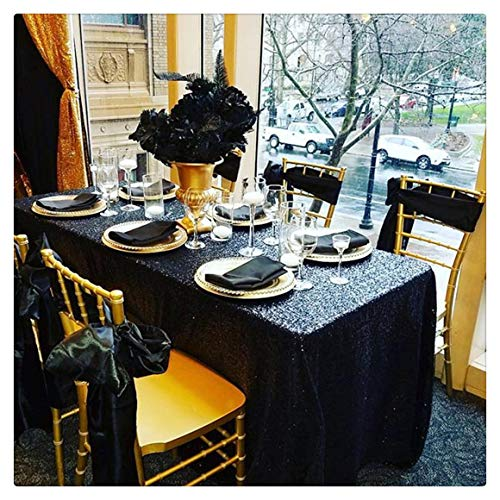 SoarDream Sequin Tablecloth Black 50