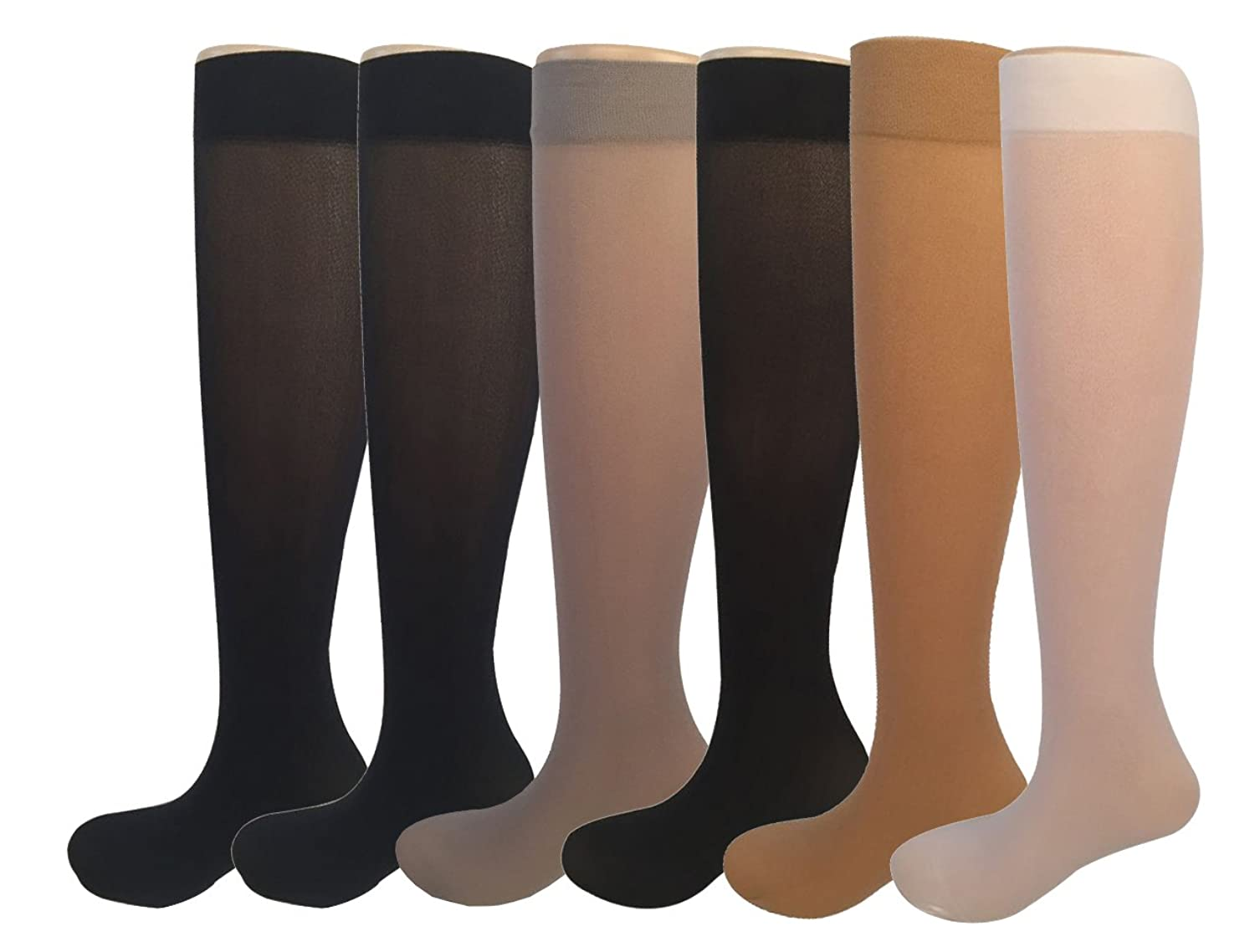 12 Pairs Women's Opaque Spandex Trouser Knee High Socks