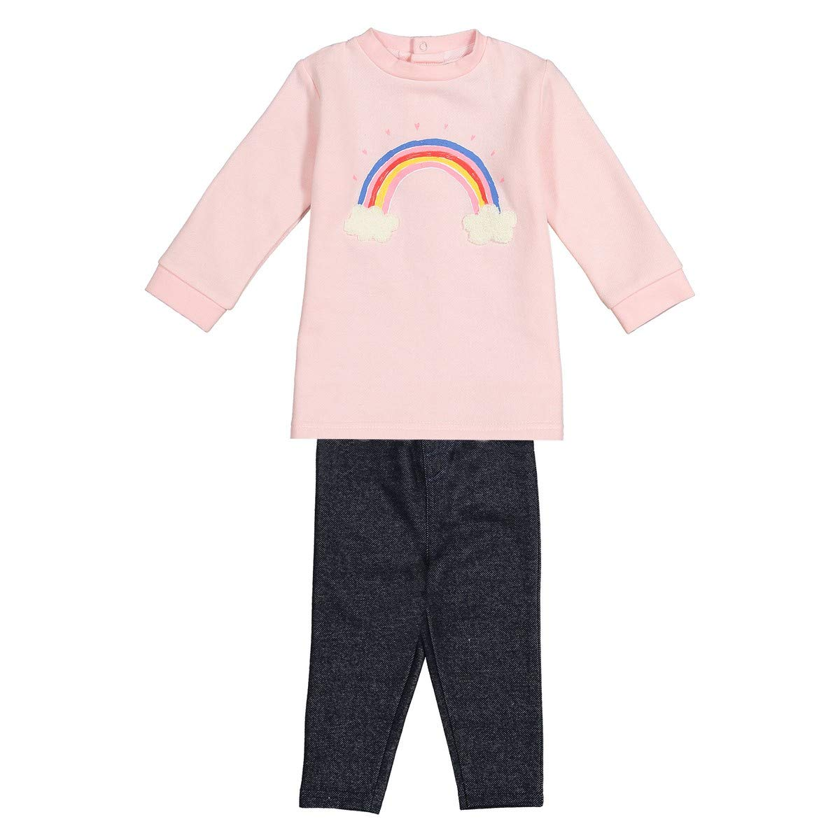 23 in. 1 Month-3 Years Pink Size 3 Months La Redoute Collections Big Girls Sweatshirt and Leggings Outfit