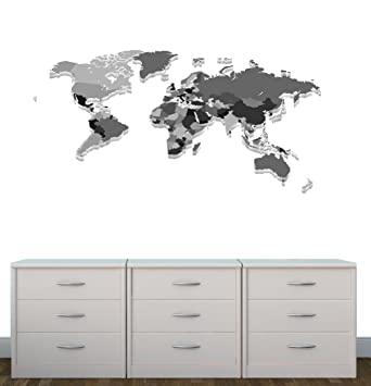 Amazon grey worldmap wall decal world map wall stickers baby grey worldmap wall decal world map wall stickers gumiabroncs Image collections