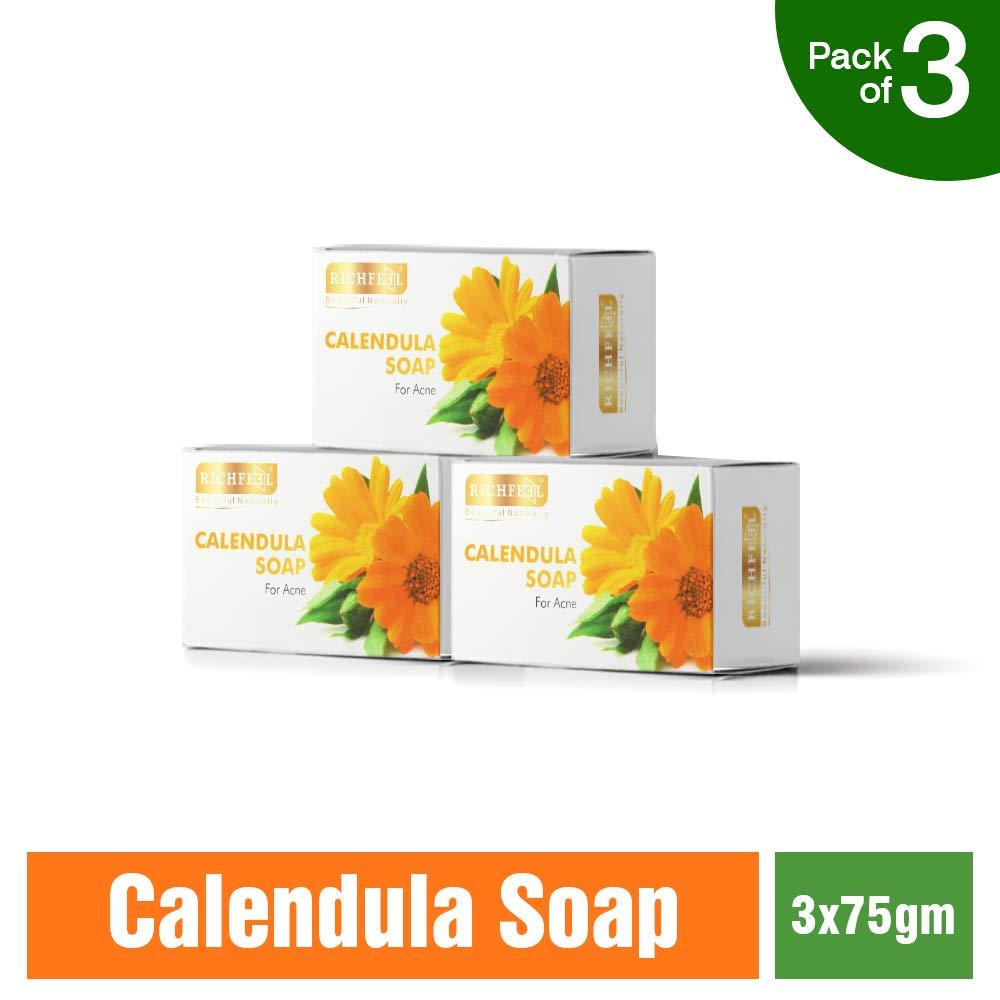 Richfeel Calendula Acne Soap, 75g (Pack of 3)
