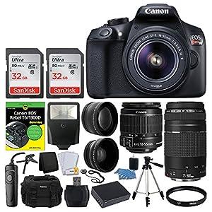 Canon EOS Rebel DSLR T6 Camera Body + Canon 18-55mm EF-S IS II Autofocus Lens + Canon Zoom EF 75-300mm III Autofocus Lens + 64GB Memory Card + T6/1300D for Dummies + Photo4Less Gadget Bag – Top Bundle