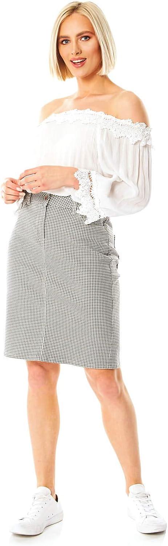 Roman Originals Falda de lápiz de algodón 98% para mujer, diseño ...