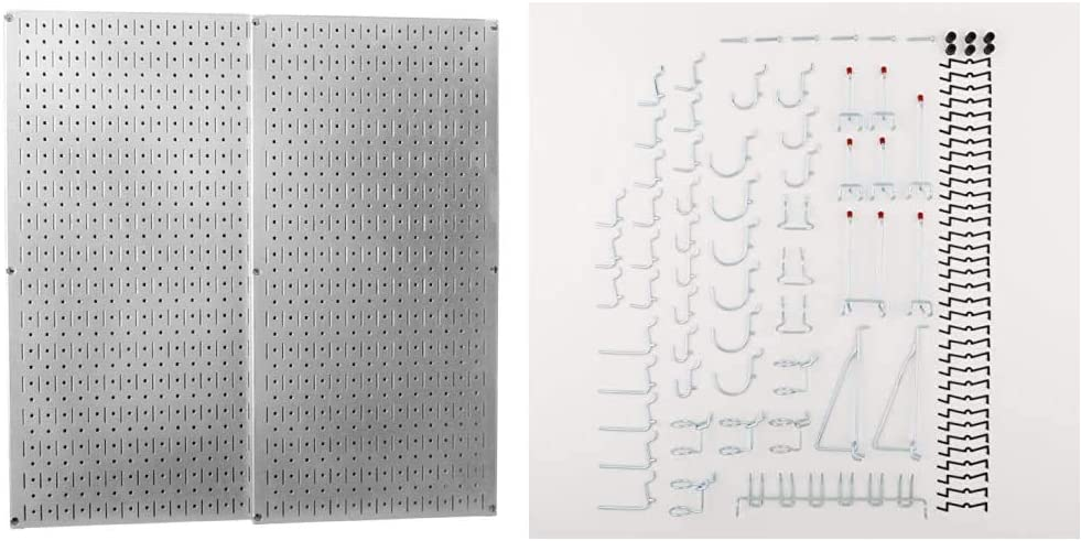 Wall Control 30-P-3232GV Galvanized Steel Pegboard Pack & National Hardware S819-841 CD8377 51 Piece Peg Board Hook Kit in Zinc,51-piece kit