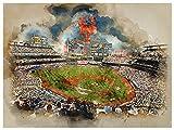 Atlas New York Mets Poster Watercolor Art Print 12x16 Wall Decor
