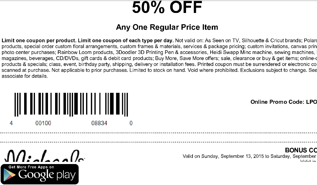 Coupons for Michaels Canada