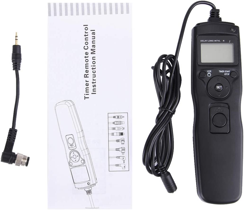 MEETBM ZIMO,RST-7004 LCD Screen Time Lapse Intervalometer Shutter Release Digital Timer Remote Controller with N8 Cable for Nikon D3X//D3//D700//D300//D2X//D2H//D200//D1H//D1X//D800 Camera Black