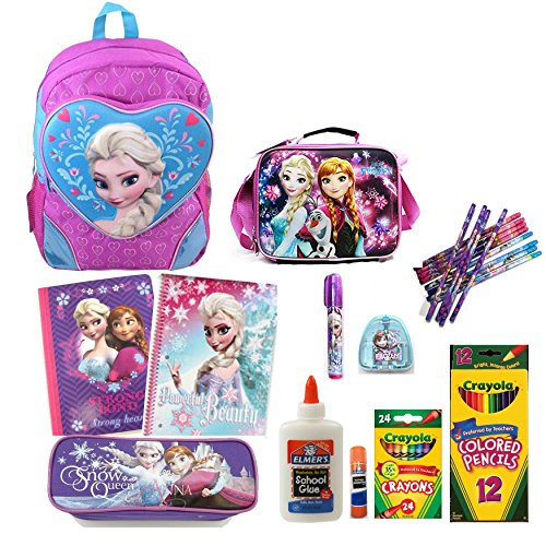 Disney Frozen Backpack with Matching Lunch Bag and School Supply Set