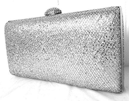 Wedding LeahWard Clutch Purse 801 Small Women's Handbags Silver Bag Evening Sparkly Glitter ggYpr
