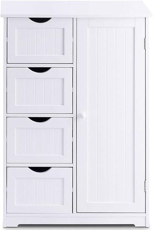 Amazon Com White Wooden 4 Drawer Bathroom Kitchen Cabinet Storage Cupboard 2 Shelves Free Standing Organizer Kitchen Dining