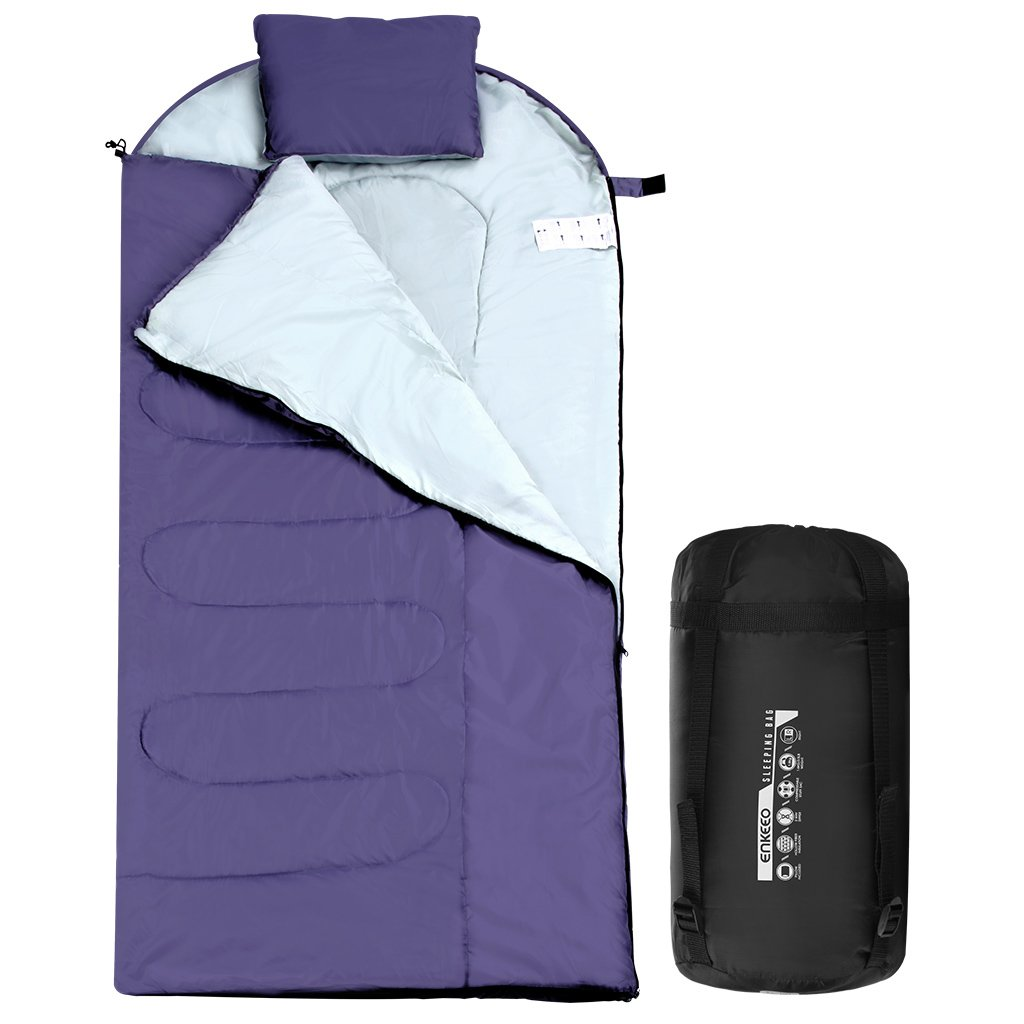 Enkeeo Envelope Sleeping Bag Waterproof Large Lightweight Warm With Pocket Pillow And Hollow Cotton 3