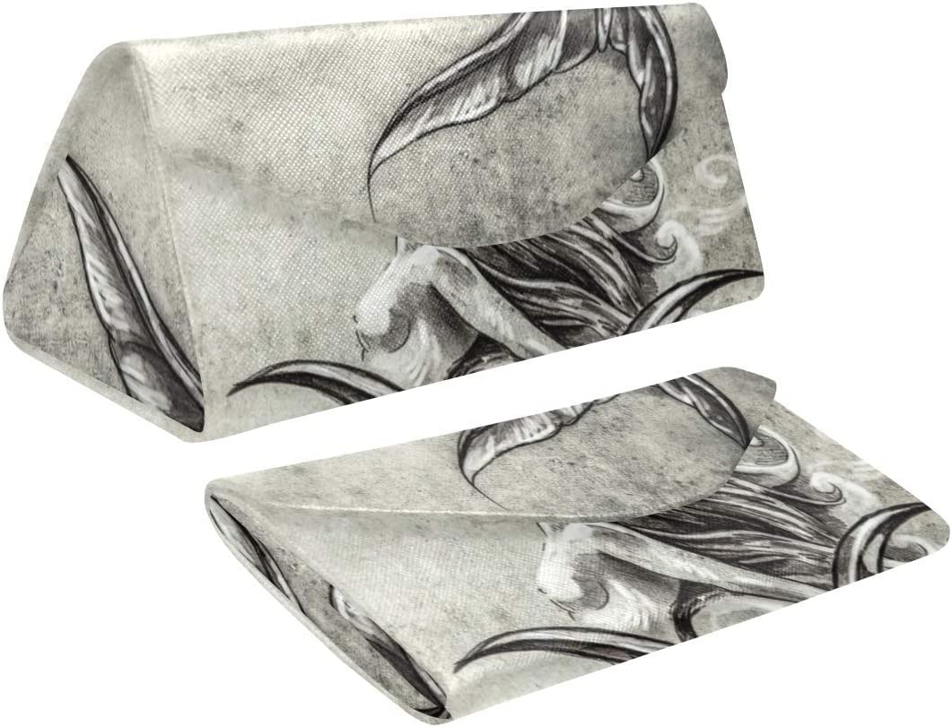 InterestPrint Sketch of A Mermaid Foldable Glasses Case Eyeglass Cases Sunglasss Boxes for Men Women