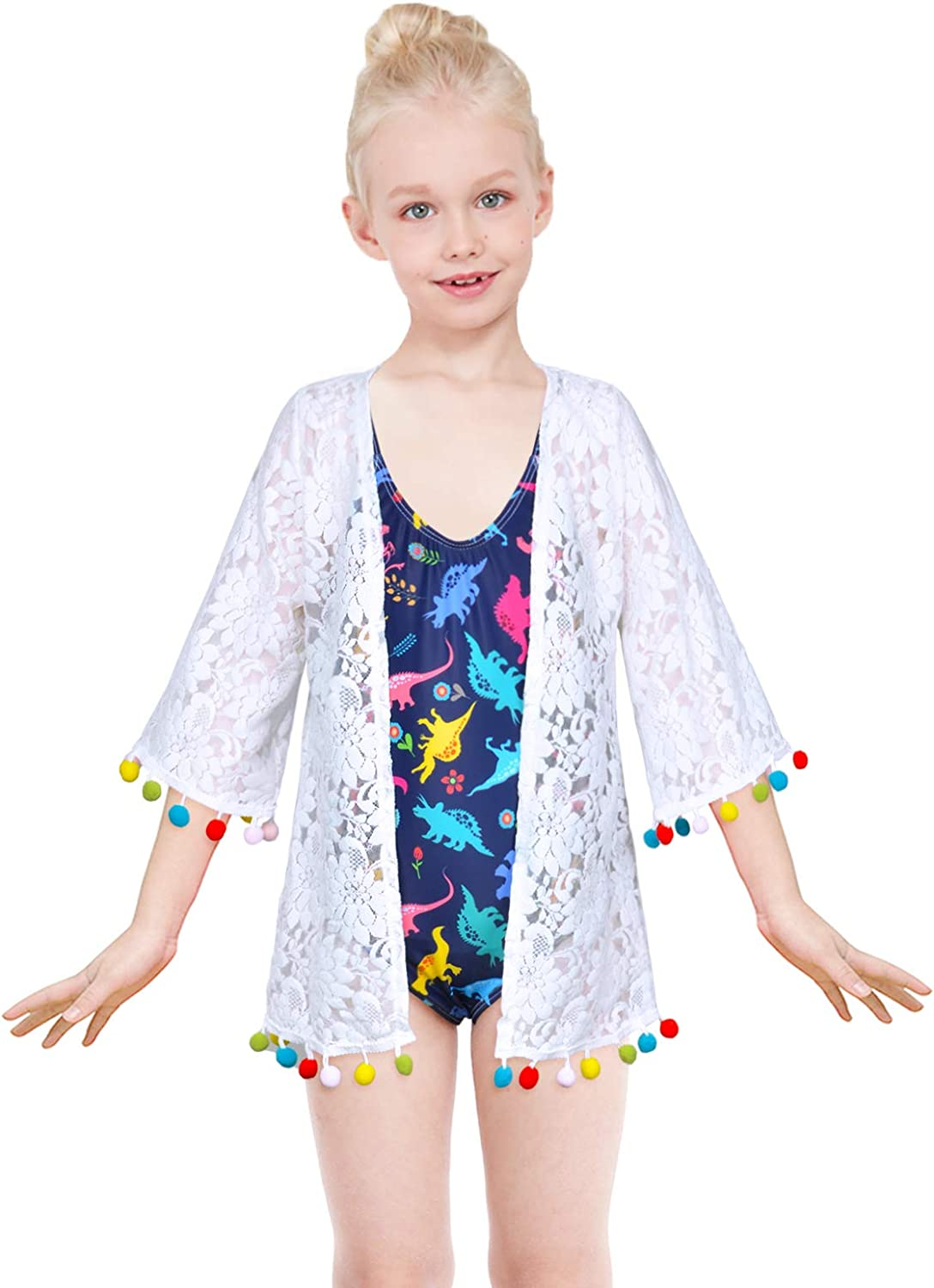 Kid Girls Chiffon Unicorn Mermaid Cover-up Beach Swimsuit Coverup Pompom Tassel
