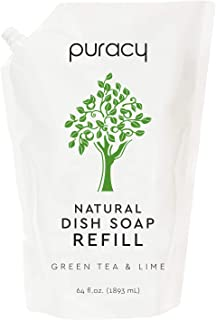 product image for Puracy Natural Dish Soap Refill, Green Tea & Lime, 64 Ounce, Hypoallergenic Non-Drying Liquid Detergent